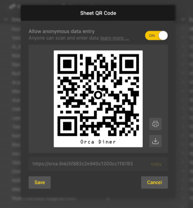 Print or download your sheet QR code