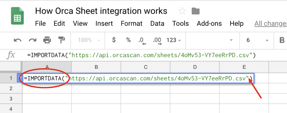 Pasting Orca Scan export link into Google Sheets cell